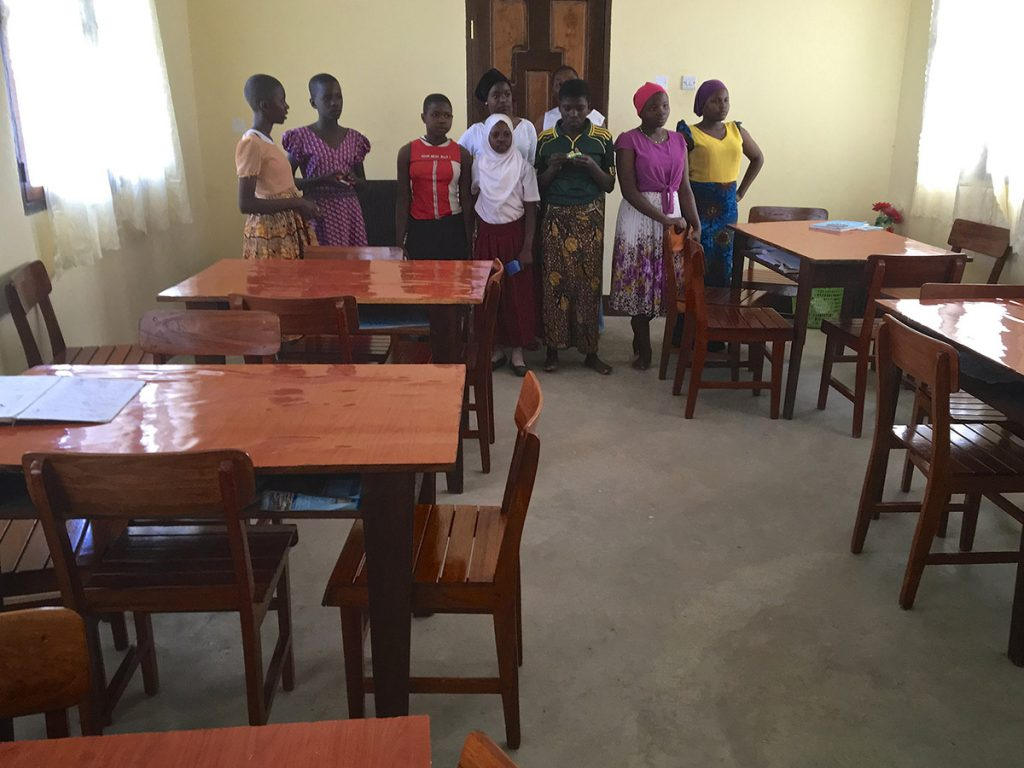 dinning hall at the hostel project funded by African Palms selling palm crosses