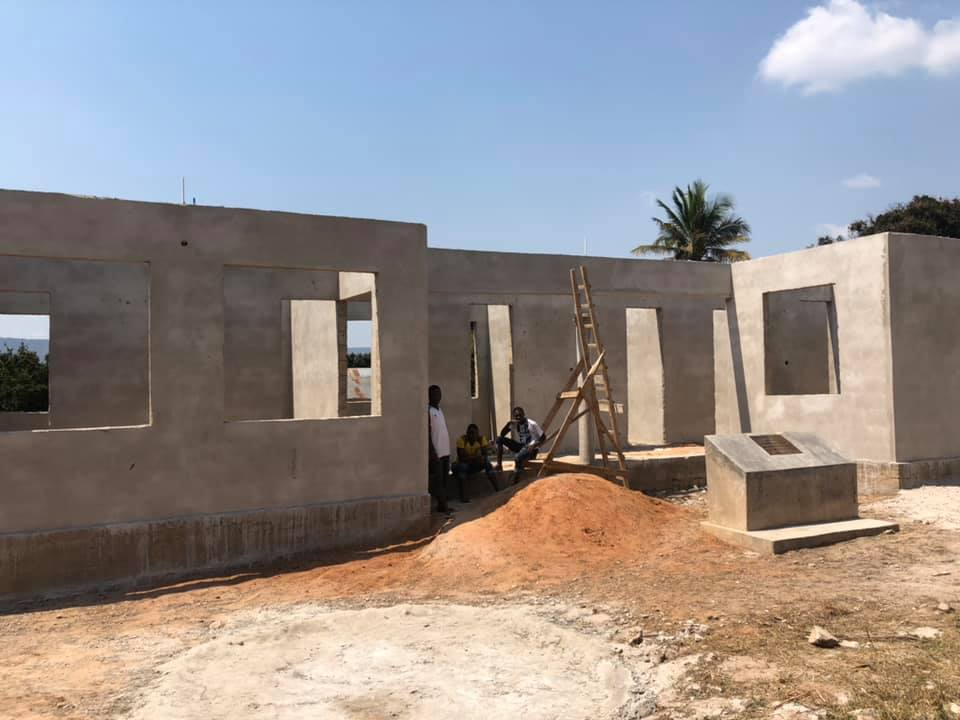 New building view of Chidya health centre at south Tanzania, for Masasi people, project funded by African Palms, selling palm crosses